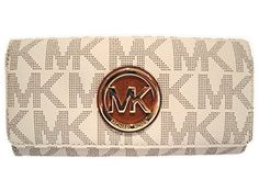cool Michael Kors Womens Fulton Signature Long Continental Clutch Wallet Vanilla/Acorn