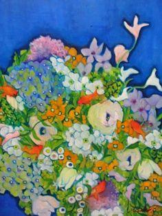 植物画「青と金魚と花」[MASAKO] | ART-Meter