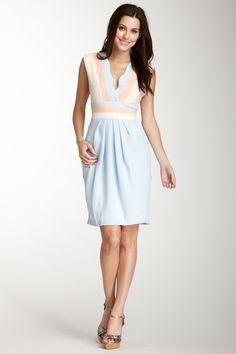 Deep V-Neck Color Block Dress from Eva Franco