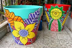 Result of image for painted pots Painted Plant Pots, Painted Flower Pots, Flower Pot Crafts, Clay Pot Crafts, Painted Signs, Hand Painted, Painted Pavers, Pottery Pots, Pottery Painting Designs