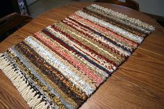 Hand Woven Twined Rag Rug Country Farmhouse Kitchen Rug with Fringe Measures 2 ft by 3 ft