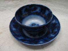 VINTAGE FLOW BLUE TEA/COFFEE CUP AND SAUCER J.MEIR & SONS IRONSTONE TEACUP DARK | eBay