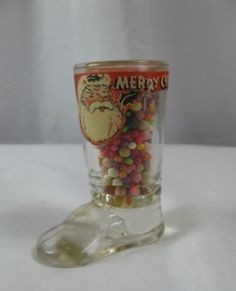 Santa's Boot glass candy container