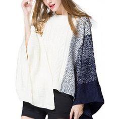 Casual Color Block Batwing Sleeve Irregular Hem Loose Sweater