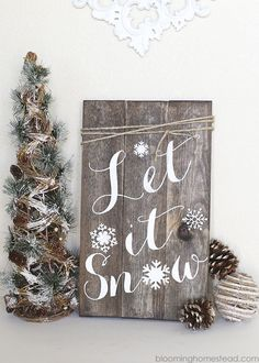 DIY Winter Woodland Sign - Blooming Homestead More This gorgeous DIY Woodland Sign is a project you must check out. Christmas Signs Wood, Rustic Christmas, Christmas Crafts, Christmas Decorations, Holiday Decorating, Xmas, White Christmas, Homemade Christmas, Christmas Tree