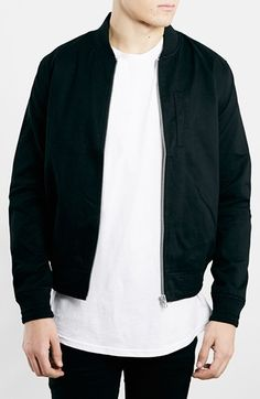 Topman Black Cotton Bomber Jacket available at #Nordstrom Tried this on in store and miles above other bombers out there due to its slim silhouette.