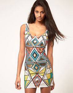 Paprika Geometric Foil Print Body-Conscious Dress