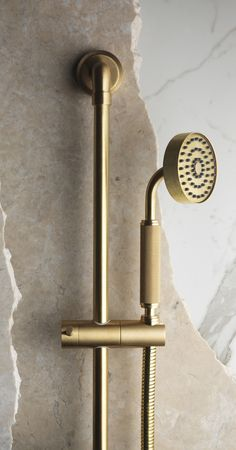 The Bauhaus-inspired LMK Industrial shower handset and riser rail in brass by Samuel Heath displays an elegant combination of textures and finishes. Brass Fittings, Plumbing Fixtures, Bathroom Fixtures, Bathroom Hardware, Brass Hardware, Industrial Showers, Industrial Bathroom, Rustic Bathrooms, Shower Systems