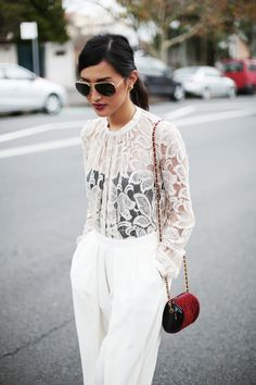 Black under white lace
