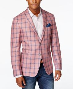 Tallia Men's Pink Plaid Linen Slim Fit Sport Coat