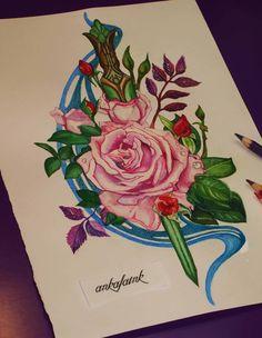Rose & dagger tattoo design by @ankafaink