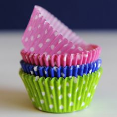 Slumber Party Cupcake Liners » Cupcakes will taste extra sweet when baked in these irresistible liners. They are greaseproof and fit a standard sized cupcake. Package includes approximately 60 liners - 20 of each color: hot pink polka dot, blue polka dot and lime green polka dot
