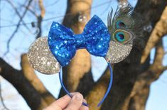 Mouse Ears Blue and Gold Peacock Headband Fancy Mouse Ears Diy Hair Accessories, Mickey Ears, Mouse Ears, Diy Hairstyles, Peacock, Super Cute, Trending Outfits, Unique Jewelry, Disney