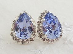 Sky blue Swarovski rhinestones stud earrings by EldorTinaJewelry, $44.00