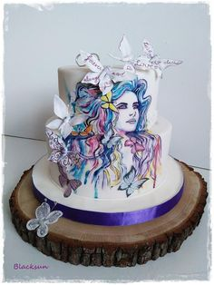 Hand painted butterfly bride - cake by Blacksun Pretty Cakes, Beautiful Cakes, Amazing Cakes, Fondant Cakes, Cupcake Cakes, Butterfly Cakes, Butterflies, Cookie Cake Birthday, Brides Cake