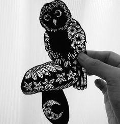 mushroom with owl