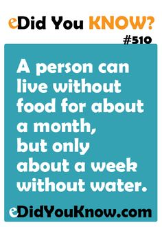 A person can live without food for about a month, but only about a week without water.  eDidYouKnow.com