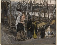 James Tissot (French, 1836-1902). The Sojourn in Egypt (Le séjour en Égypte), 1886-1894. Opaque watercolor over graphite on gray wove paper, Image: 6 11/16 x 8 3/16 in. (17 x 20.8 cm). Brooklyn Museum, Purchased by public subscription, 00.159.36 (Photo: Brooklyn Museum, 00.159.36_PS1.jpg)