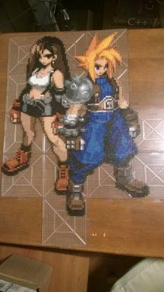 Tifa Lockhart and Cloud Final Fantasy perler bead sprite by MaraVWGolf