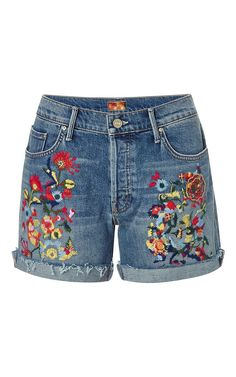 Loosey embroidered jean shorts by Mother Denim