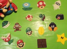 Super Mario Bros Cupcake toppers of modeling chocolate
