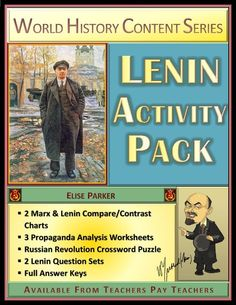 Lenin worksheets that teach in a fun, engaging way. No prep for teachers, full answer keys with tons of additional information provided. Includes Marx / Lenin comparison worksheets, propaganda analysis, Russian Revolution crossword, and Lenin question sets for review, reinforcement, and reteaching. 24 pages! #russianrevolution #lenin #marx #1900s #sovietunion #ussr #historypuzzle #funhistory Social Studies Resources, Teaching Resources, Compare And Contrast Chart, Spanish Exercises, Russian Revolution, Teaching History, Close Reading, World History, History Class