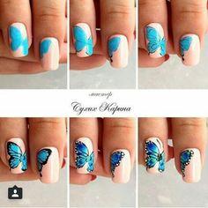 Blue Aycrlic Nails, Love Nails, Hair And Nails, Nail Techniques, Butterfly Nail Art, Happy Nails, Nail Art Diy, Nail Arts, Trendy Nails