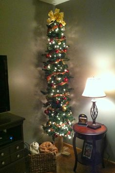 Tall Thin Christmas Trees | made this christmas tree yes the tree itself using a landscaping log ...