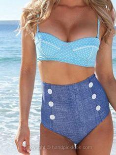 Blue Spaghetti Strap Polka Dot Top With Button Embellished Bikini Set -$23.19