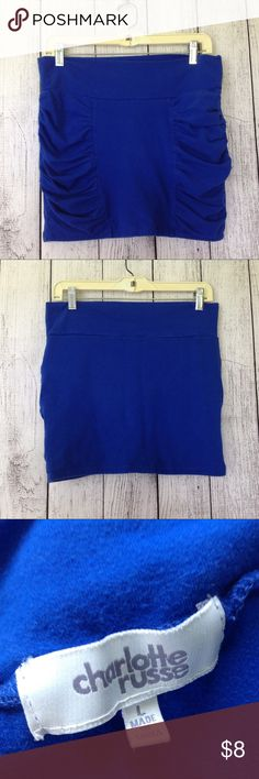 """Charlotte Russe Royal Blue Mini SKirt Charlotte Russe Royal Blue 15"""" waist unstretched and laid flat 15"""" Inseam Size Large Great Used Condition  Tub A Charlotte Russe Skirts Mini"""