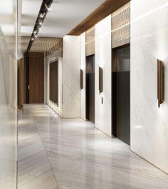 Al Habtoor Penthouses - Swiss Bureau Interior Design Company Dubai, UAE Corridor Design, Hall Design, Floor Design, Ceiling Design, Interior Design Companies, Office Interior Design, Elevator Lobby Design, Interior Fit Out, Lift Design
