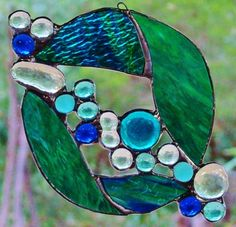 Abstract 'AQUA HAZE' Suncatcher Hand Made Stained Glass BIRTHDAY Leadlight Gift $39