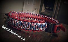 Custom made Adjustable King Adjustable King Cobra dog collar has of an outer 550 Paracord collar knotted around an inner 550 Paracord Cobra collar. Extremely durable. Stylish. #BullTerrier #BullTerror #KingCobraParacord #ParacordDogCollar #DogCollar www.BombBullie.com