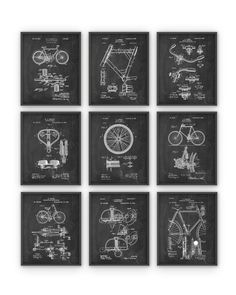 Bicycle Patent Prints Set of 9  Cycling by QuantumPrints on Etsy