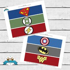 INSTANT DOWNLOAD - Superhero Birthday Party Baby Shower Superheroes Water Bottle labels/Napkin Ring Comics Pop art Logos - Drink Wraps