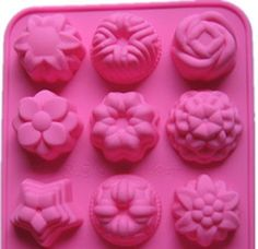 Silicone Cake Mold Pan 12 Per Sheet Flowers *** Check this awesome product by going to the link at the image.
