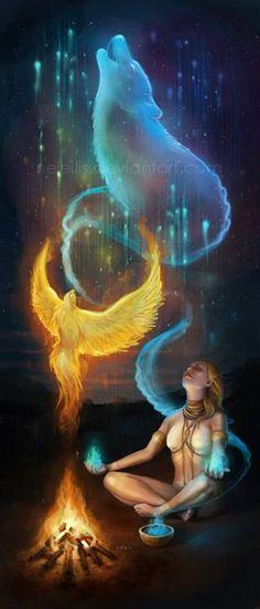 Mystical Meditation with Spirit Animal Totems Fantasy World, Fantasy Art, Animal Spirit Guides, Animal Totems, Native American Art, Native Art, Mythical Creatures, Wicca, Magick