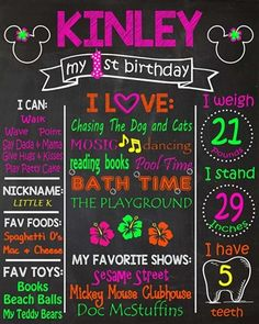 Birthday Chalkboard Poster Sign • Mouse Luau Theme • Free economy shipping • Fast turnaround time • Great customer service • These birthday boards are custom, high resolution digital files that are personalized for each customer upon order