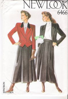 Cropped Jacket Patterns Fitted Flared Skirt Patterns by YacketUSA