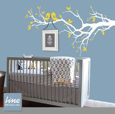 Ideas for babies room.Modern Kids Decals Wall Decals Nursery Tree Decal - branches with birds - vinyl wall art decal Modern Wall Decals, Kids Wall Decals, Nursery Wall Decals, Vinyl Wall Art, Nursery Room, Girl Nursery, Girl Room, Nursery Decor, Tree Decals