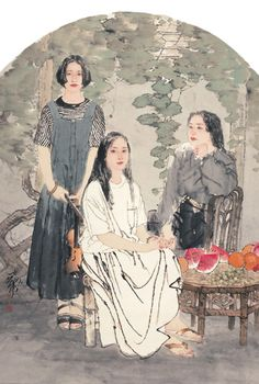 Fine Art Gallery He Jiaying was born in Tianjin in Sketch Painting, Love Painting, Chinese Painting, Chinese Art, Modern Art, Contemporary Art, A Level Art, Art Reference Poses, Fine Art Gallery