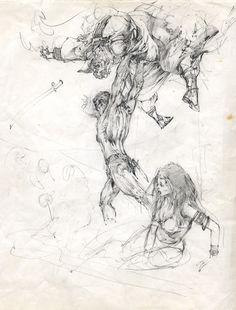 Neal Adams The Son of Tarzan Paperback Cover Prelim- Stage One Comic Art