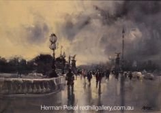 "Herman Pekel  Impressionist Oil Painting ""Approaching Storm Paris"" 69x49cm. Red Hill Gallery, Brisbane. redhillgallery.com.au"