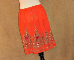 Mini Skirt: Tangerine Orange Flowy Bohemian Indian Gypsy Boho Floral Sequink Skirt Crinkle Cover Up Gypsy Skirt, Boho Skirts, Belly Dance, Tie Dye Skirt, Mini Skirts, Bohemian, Indian, Orange, Fashion