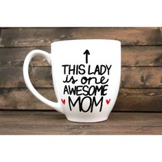 This Lady Is One Awesome Mom Hand Painted Ceramic Mug Mother's Day Mug... (56 PEN) ❤ liked on Polyvore featuring home, kitchen & dining, drinkware, drink & barware, home & living, mugs, silver, ceramic mugs, handmade ceramic mugs and handmade mugs