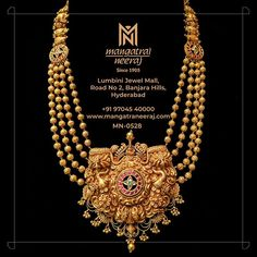 This antique neck piece is a spectacle of grandeur made with rubies in the rough and too, this solid gold haram can be worn on your special day to add a touch of majesty that lurks up the sides on to the gold balls chain too. For Queries, WhatsApp us on Antique Jewellery Designs, Gold Jewellery Design, Handmade Jewellery, Gold Haram Designs, Real Gold Jewelry, Antique Necklace, Gold Necklace, Hyderabad, Neck Piece