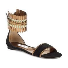 Women's Jimmy Choo Kimro Fringe Ankle Cuff Sandal (15.930 ARS) ❤ liked on Polyvore featuring shoes, sandals, black mix, suede fringe sandals, black flat shoes, fringe flat sandals, fringe sandals and black shoes