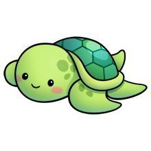 Sea Turtle - Lots of clip art on this site Cute Animal Drawings, Kawaii Drawings, Cartoon Drawings, Easy Drawings, Cute Turtle Drawings, Arte Do Kawaii, Kawaii Art, Kawaii Doodles, Cute Turtles
