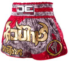 DE SILVER / RED MUAY THAI SHORTS [DEMTS-029]
