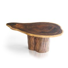Cross Section Coffee Table by Tucker Robbins :: Reclaimed cross section cut of Acacia with a salvaged Satinwood log serving as its base, this coffee table evokes the magic and natural spirits of the Sri Lankan forests where these trees were first felled :: Furniture New York